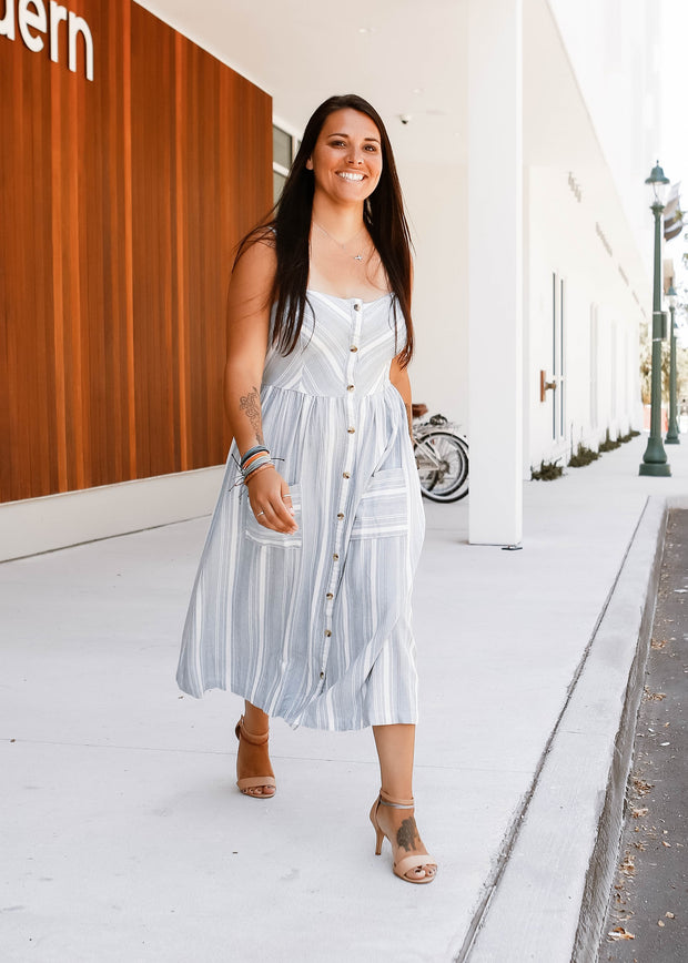 You Can Find Me at The Beach Stripe Button Down Midi Dress