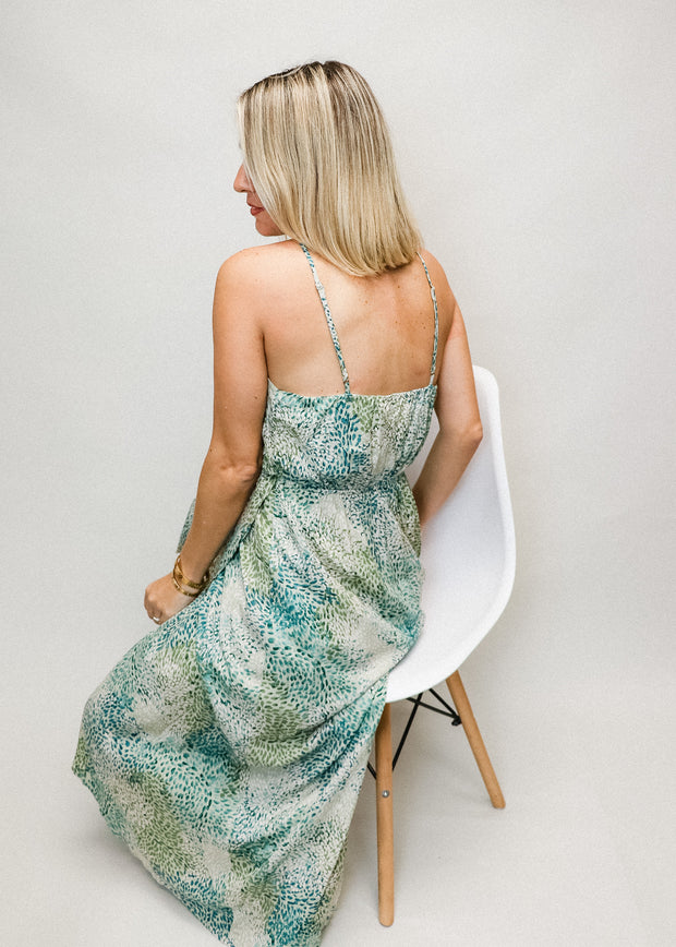 Green Leaf Halter Dress