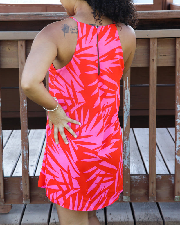 Pink Palm Mini Dress