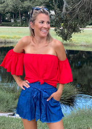 Off Shoulder Bubble Sleeve Top in Tomato Red