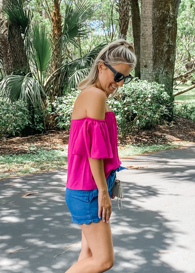 Off Shoulder Bubble Sleeve Top in Fuchsia