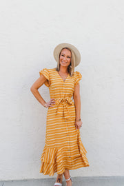 Yellow Striped Button Front Midi Dress