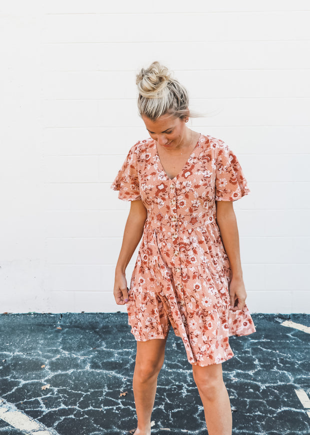 Short Sleeve Button Down Fall Floral Dress