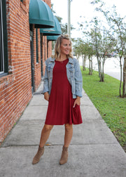 Favorite Tunic Shift Dress - Burgandy