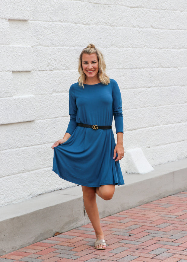 Favorite Tunic Shift Dress - Dark Teal