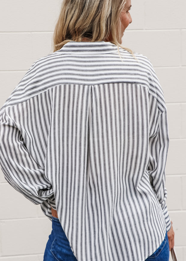 Striped Button Down with Pockets