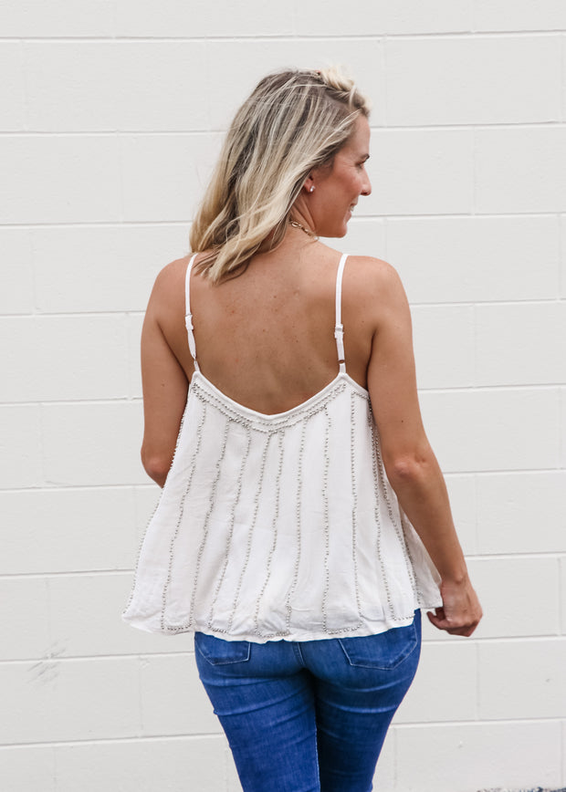 Beaded Spaghetti Tank Top