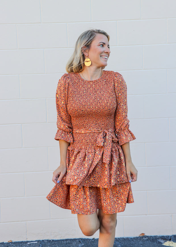 Smocked Ruffle Tiered Midi Dress in Rust