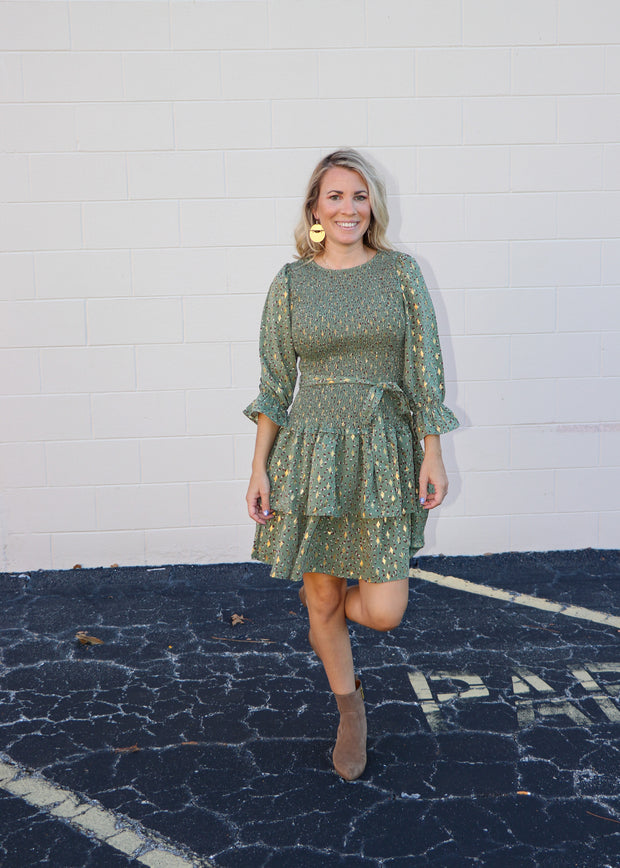 Smocked Ruffle Tiered Midi Dress in Olive