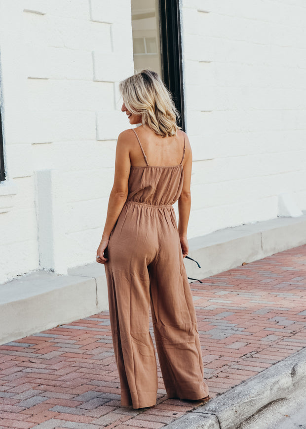 Sleeveless Button Front Jumpsuit