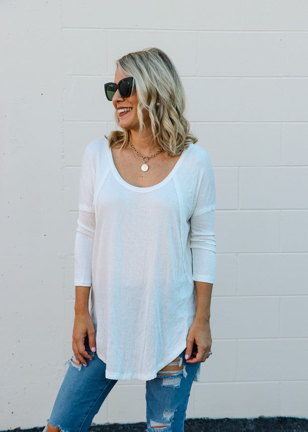 3/4 Sleeve White Top