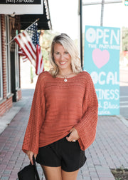 Rust Mini Bell Sleeve Sweater