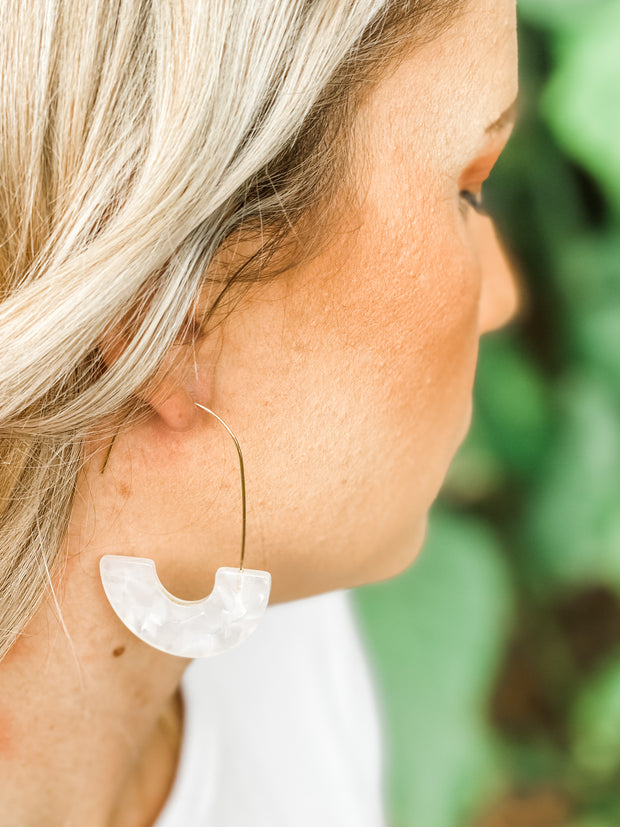 Marble White Isla Hoops by St. Armands Designs