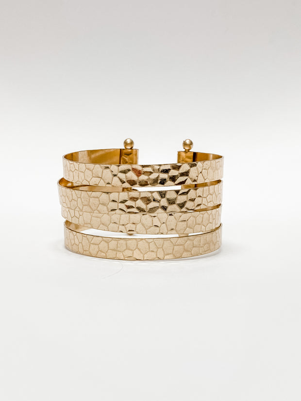 Anais Hammered Four Row Adjustable Cuff by Caroline Hill