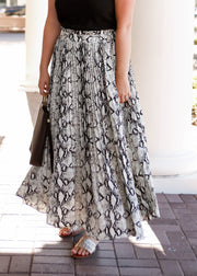 Snake Skin Pleated Maxi Skirt
