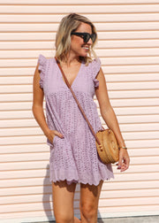 Baby Doll Eyelet Romper Dress - Lavender
