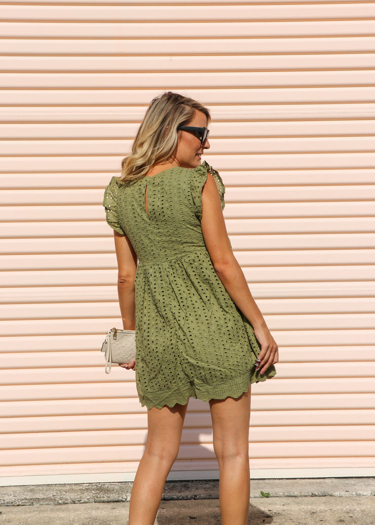 Baby Doll Eyelet Romper Dress - Olive