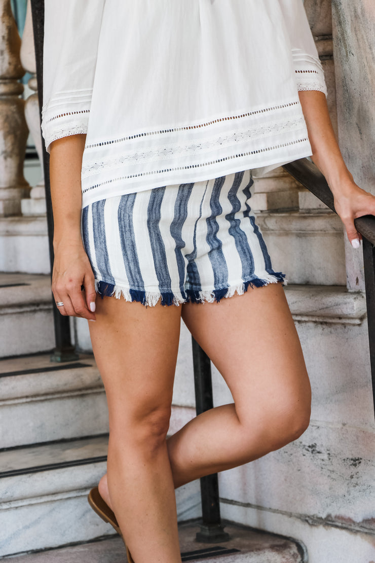 Navy Stripe Fringe Short