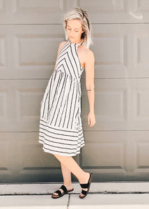 Taupe and Black Linen Dress with tie back