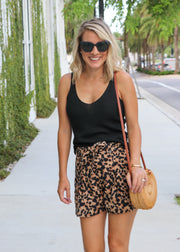 Corduroy Leopard Shorts with Belt