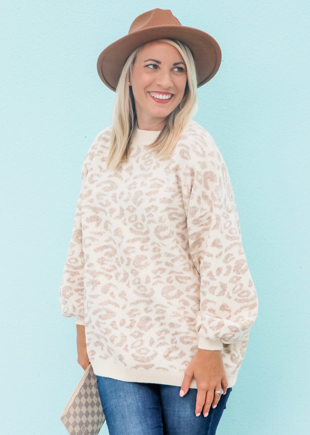 Snow Leopard Beige Sweater