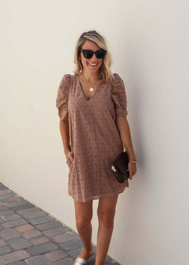 Puff Sleeve Eyelet Dress