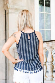 Hall Striped Tassel Top