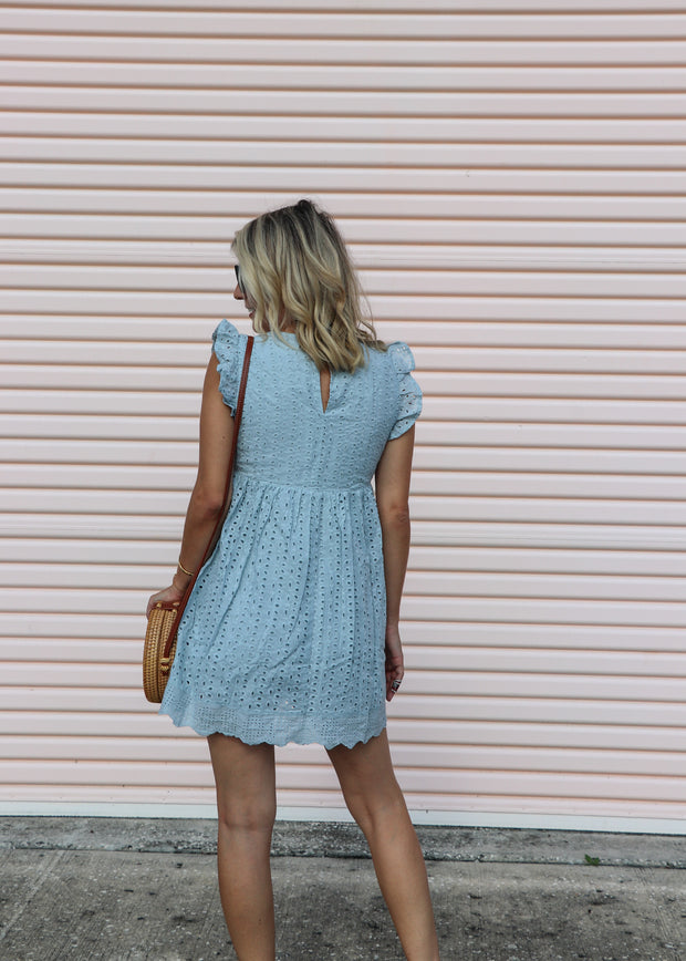 Baby Doll Eyelet Romper Dress - Blue