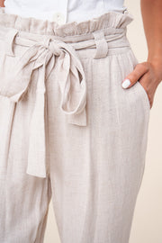 Linen Cuffed Paper Bag Pants