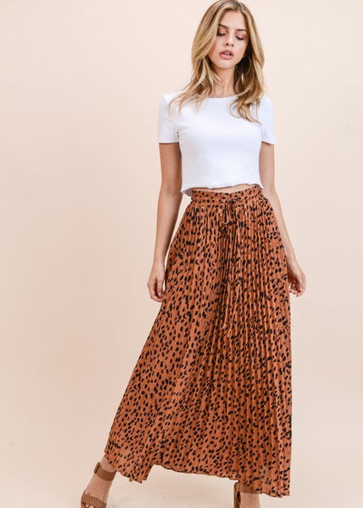 Toffee Cheetah Pleated Skirt