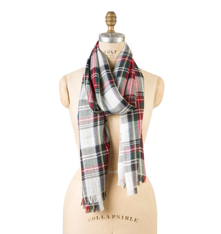 Bamboo Wool - White Plaid