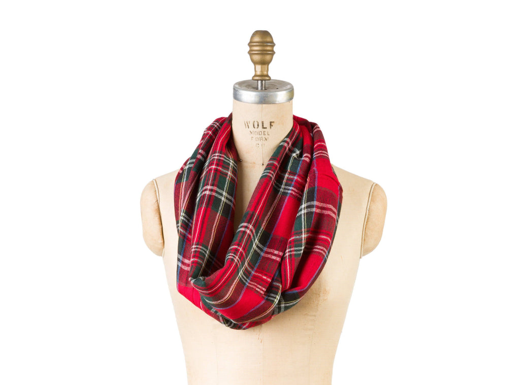 Bamboo Wool Infinity - Red Plaid