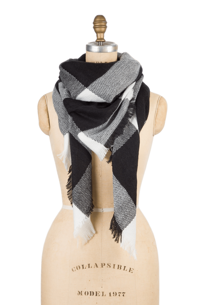 Blanket Scarf - Black Check