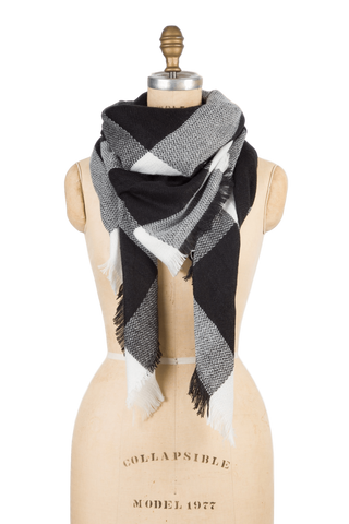 Naturally Knotty Blanket Scarf Black Check