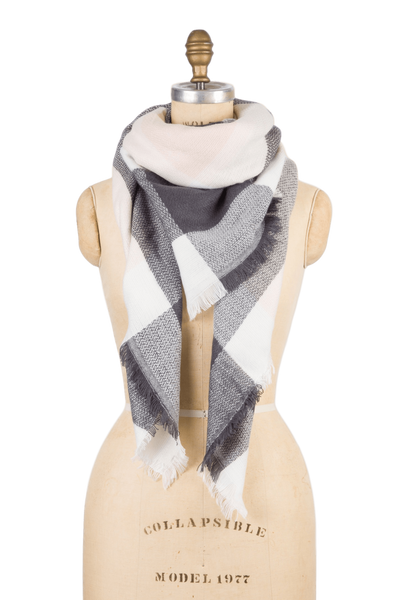 Blanket Scarf - Grey & Tan Check