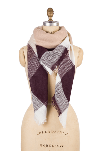 Blanket Scarf - Tan Check