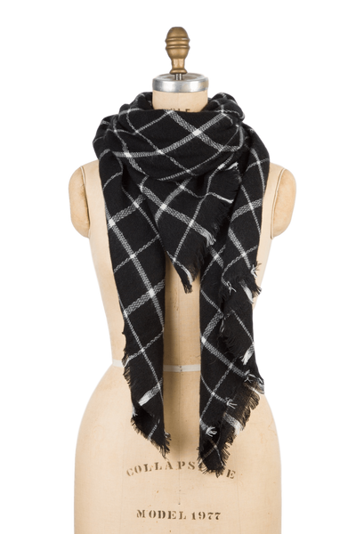 Blanket Scarf - Black Grid