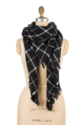 Naturally Knotty Blanket Scarf Black Grid