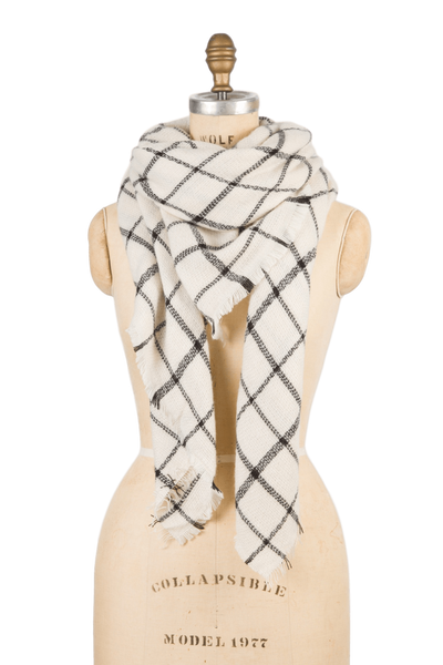 Blanket Scarf - White Grid