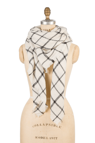 Naturally Knotty Blanket Scarf White Grid