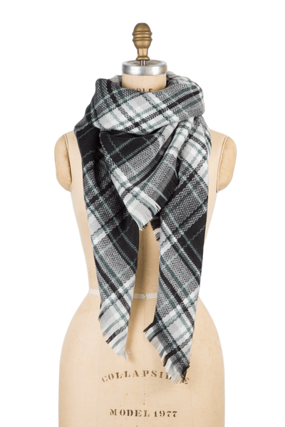 Blanket Scarf - Black & Grey Plaid