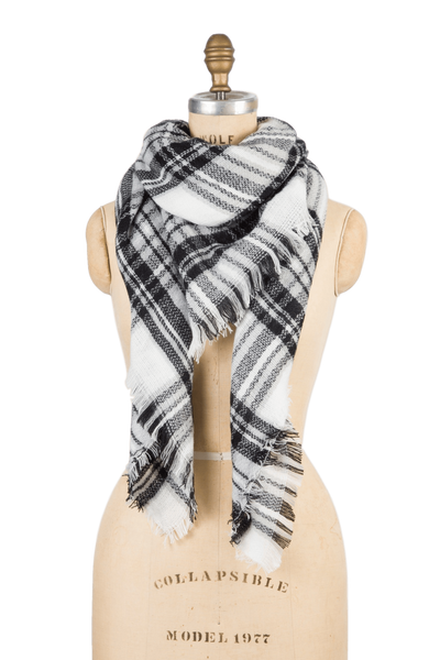 Blanket Scarf - Black & White Plaid