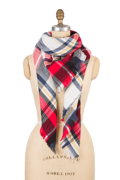Blanket Scarf - Red Navy Plaid
