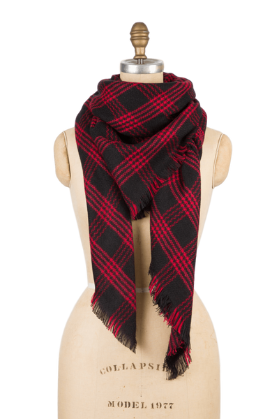 Blanket Scarf - Red Black Plaid
