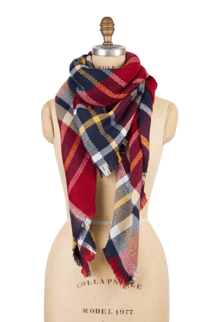 Blanket Scarf - Red Rhubarb Plaid - SOLD OUT