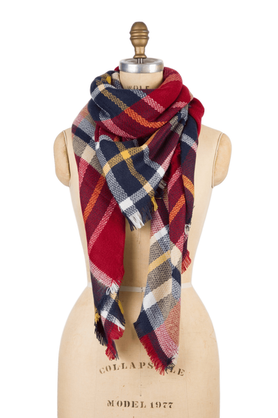 Blanket Scarf - Red Rhubarb Plaid