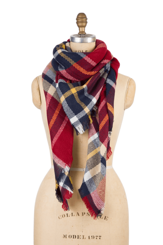 Naturally Knotty Blanket Scarf Red Rhubarb Plaid