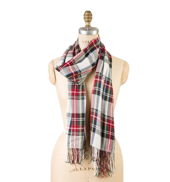 Bamboo Wool - White Plaid with Tassel Fringe
