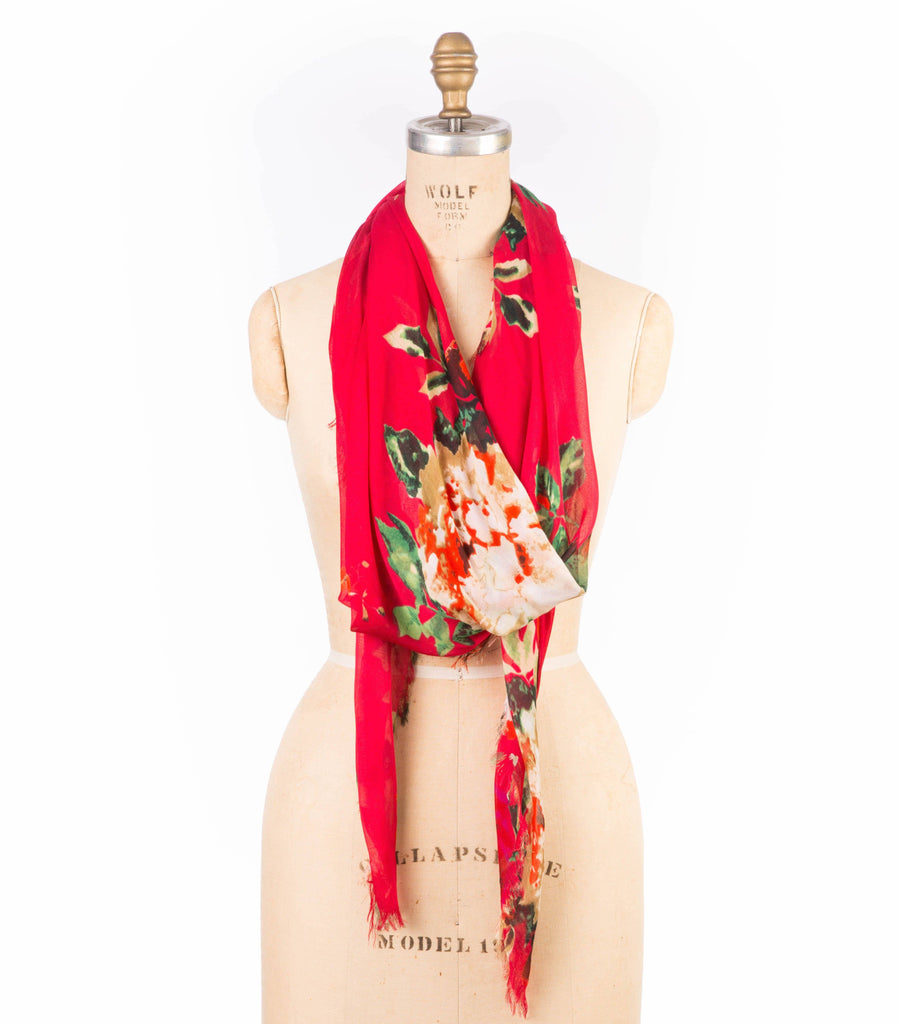 Modal Floral Print - Red