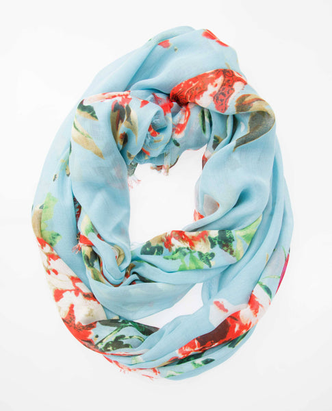 Modal Floral Print Infinity - Blue